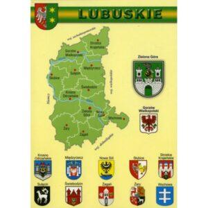 WOJEWÓDZTWO LUBUSKIE MAPKA HERBY WR808
