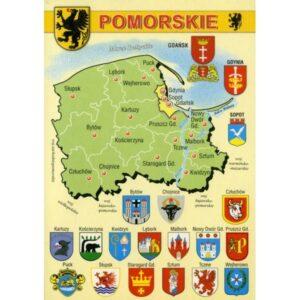 WOJEWÓDZTWO POMORSKIE MAPKA HERBY WR794