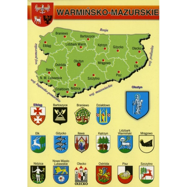 WOJEWÓDZTWO WARMIŃSKO-MAZURSKIE MAPKA HERBY WR798