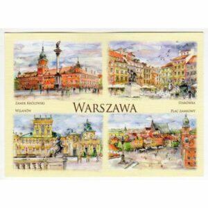 WARSZAWA WIDOKÓWKA AKWARELA CZ-WA-36