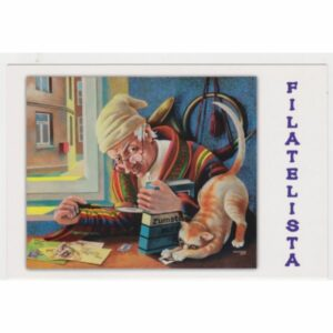 FILATELISTA I KOT POCZTÓWKA A52457