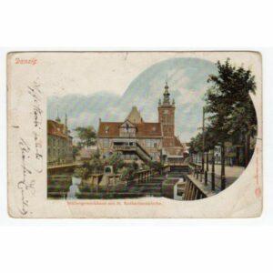 GDAŃSK DANZIG Mullergewerkhaus mit St. Katharinekirche WIDOKÓWKA A60478