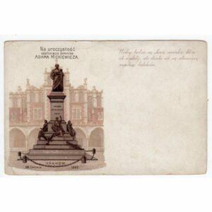 KRAKÓW LITOGRAFIA 1898 POMNIK MICKIEWICZA WIDOKÓWKA A60489