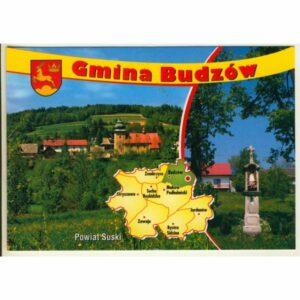 GMINA BUDZÓW MAPKA HERB WIDOKÓWKA WR9379