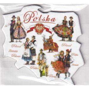 MAGNES NA LODÓWKĘ POLSKA stroje ludowe FOLKLOR MAPKA 2550