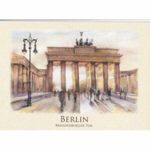 BERLIN BRAMA BRANDENBURSKA WIDOKÓWKA AKWARELA CZ-BERLIN-01