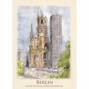 BERLIN KOŚCIÓŁ PAMIĘCI WIDOKÓWKA AKWARELA CZ-BERLIN-03