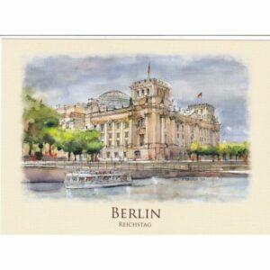 BERLIN GMACH PARLAMENTU WIDOKÓWKA AKWARELA CZ-BERLIN-05