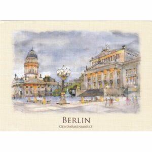 BERLIN PLAC GENDARMENMARKT WIDOKÓWKA AKWARELA CZ-BERLIN-02