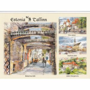 ESTONIA TALLINN WIDOKÓWKA AKWARELA CZ-TALLINN-10