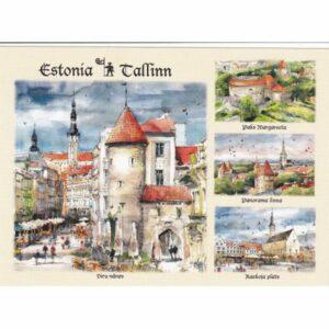 ESTONIA TALLINN WIDOKÓWKA AKWARELA CZ-TALLINN-09