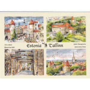 ESTONIA TALLINN WIDOKÓWKA AKWARELA CZ-TALLINN-08