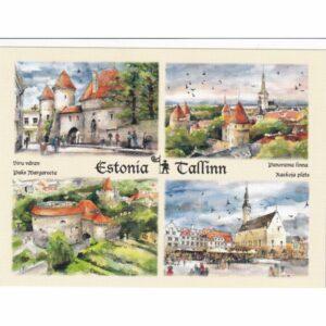 ESTONIA TALLINN WIDOKÓWKA AKWARELA CZ-TALLINN-07