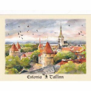 ESTONIA TALLINN PANORAMA MIASTA WIDOKÓWKA AKWARELA CZ-TALLINN-03