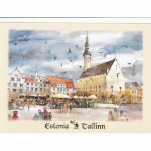 ESTONIA TALLINN RAEKOJA PLATS WIDOKÓWKA AKWARELA CZ-TALLINN-05