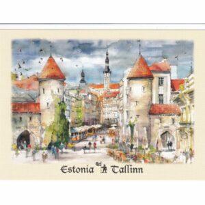 ESTONIA TALLINN BRAMA VIRU WIDOKÓWKA AKWARELA CZ-TALLINN-02