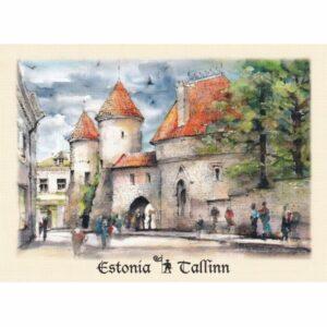 ESTONIA TALLINN BRAMA VIRU WIDOKÓWKA AKWARELA CZ-TALLINN-01