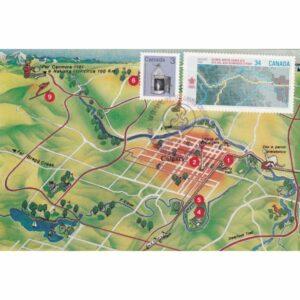 KANADA CALGARY 1988 ZIMOWE IGRZYSKA OLIMPIJSKIE MAPKA MAXIMUM ZNACZEK WIDOKÓWKA A72926
