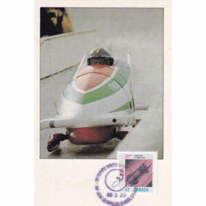 KANADA CALGARY 1988 ZIMOWE IGRZYSKA OLIMPIJSKIE BOBSLEJE MAXIMUM ZNACZEK WIDOKÓWKA A72927