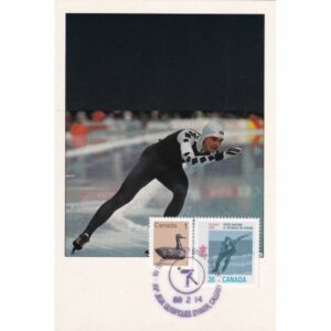 KANADA CALGARY 1988 ZIMOWE IGRZYSKA OLIMPIJSKIE ŁYZWIARSTWO SZYBKIE MAXIMUM ZNACZEK WIDOKÓWKA A72928