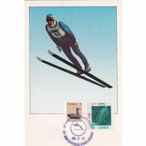 KANADA CALGARY 1988 ZIMOWE IGRZYSKA OLIMPIJSKIE SKOKI NARCIARSKIE MAXIMUM ZNACZEK WIDOKÓWKA A72930