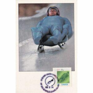 KANADA CALGARY 1988 ZIMOWE IGRZYSKA OLIMPIJSKIE SANECZKARSTWO MAXIMUM ZNACZEK WIDOKÓWKA A72931