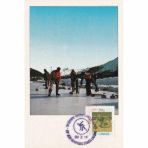 KANADA CALGARY 1988 ZIMOWE IGRZYSKA OLIMPIJSKIE CURLING MAXIMUM ZNACZEK WIDOKÓWKA A72932