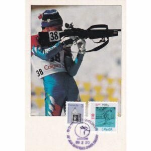 KANADA CALGARY 1988 ZIMOWE IGRZYSKA OLIMPIJSKIE BIATHLON MAXIMUM ZNACZEK WIDOKÓWKA A72936