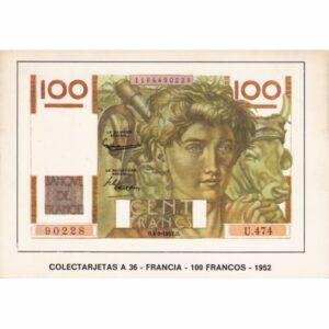 FRANCJA 100 FRANKÓW BANKNOT POCZTÓWKA A74092