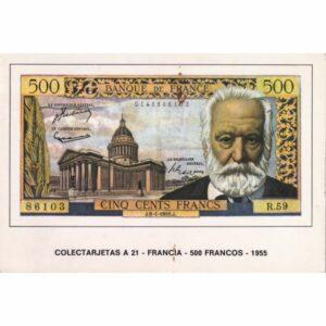 FRANCJA 500 FRANKÓW BANKNOT POCZTÓWKA A74093