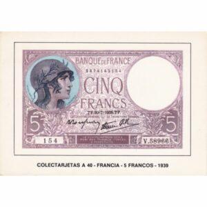 FRANCJA 5 FRANKÓW BANKNOT POCZTÓWKA A74094